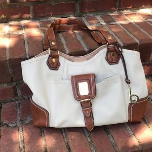 Ladies white and tan leather purse